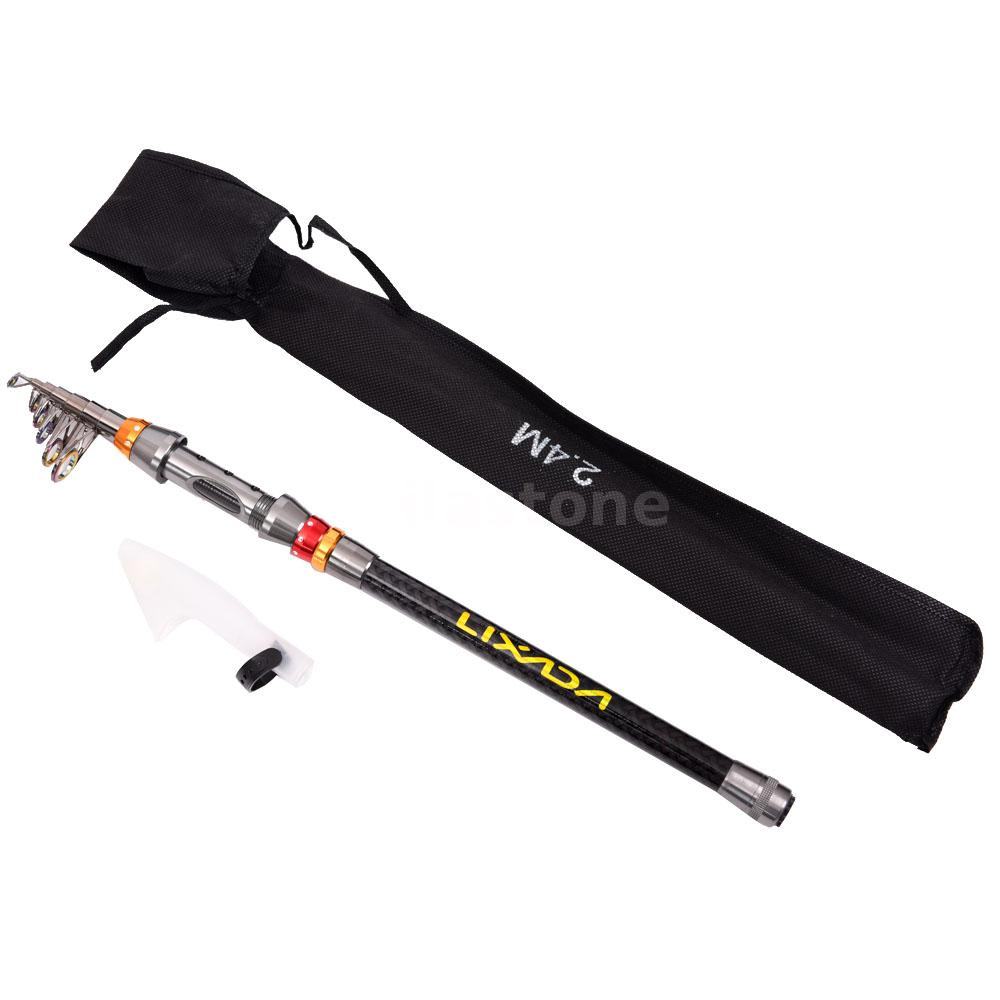teleskop carbon fiber fishing rod spinning seefischerei pole tackle 2 4m h5j5 ebay. Black Bedroom Furniture Sets. Home Design Ideas