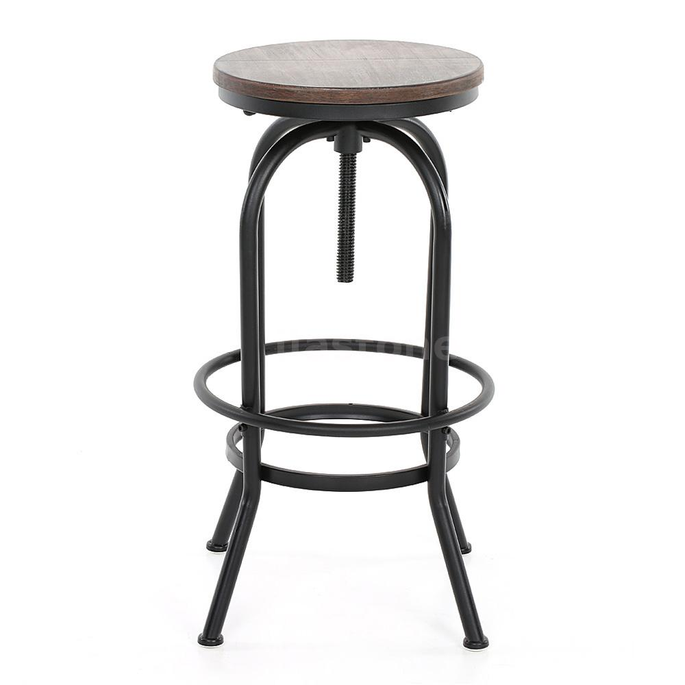 Industrial Vintage Swivel Kitchen Bar Stool Wooden Seat Adjustable Height Top Lt Ebay