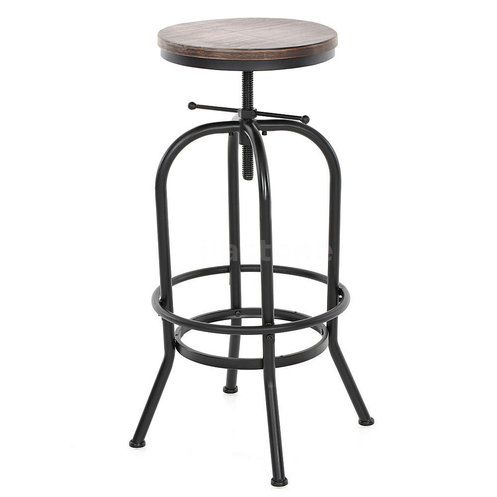 Industrial Vintage Swivel Kitchen Bar Stool Wooden Seat