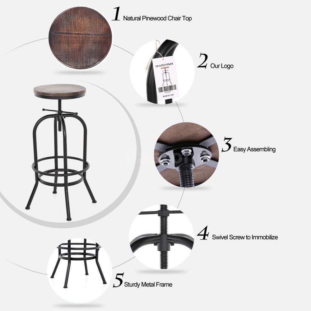Vintage Bar Stool Adjustable Seat Height Counter Top Chair: Vintage Bar Stool Industrial Metal Design Wood Top