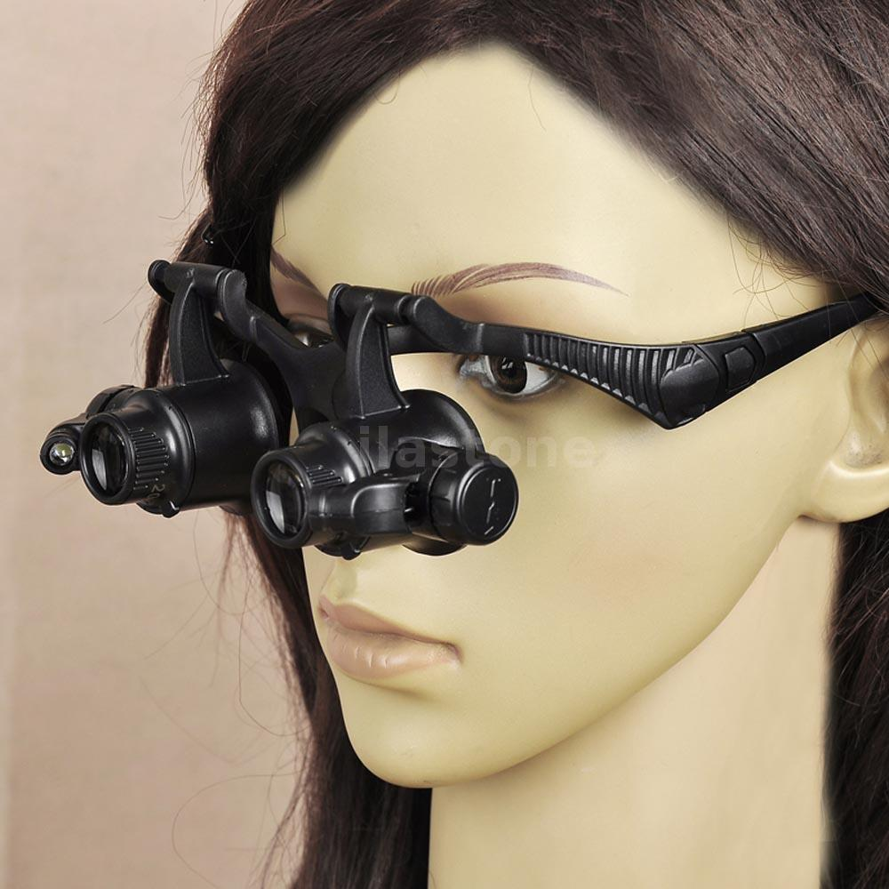 20x Led Magnifier Double Eye Glasses Loupe Lens Jeweler