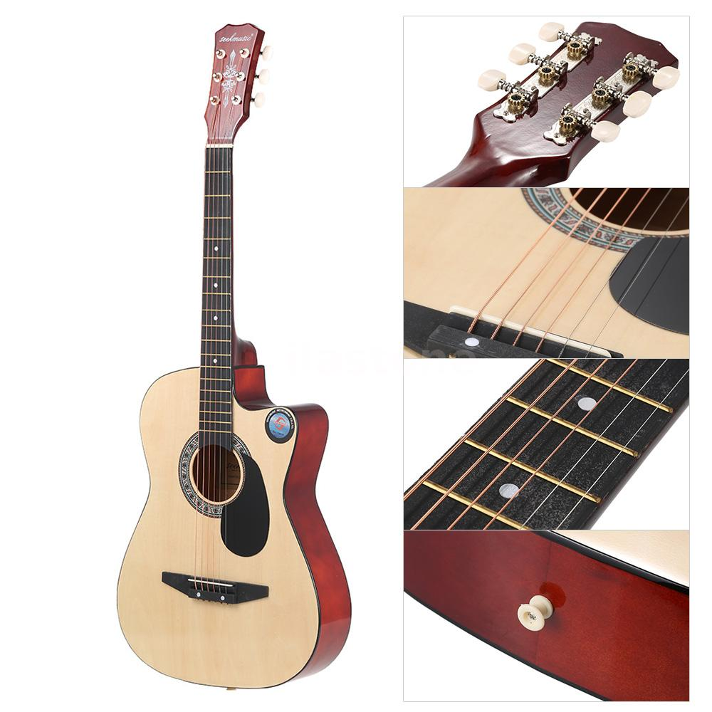 folk acoustic guitar 38 6 string for beginners music lovers n6r3 ebay. Black Bedroom Furniture Sets. Home Design Ideas