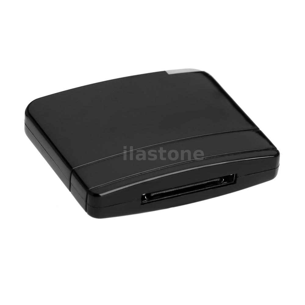 black bluetooth a2dp music audio 30 pin receiver adapter. Black Bedroom Furniture Sets. Home Design Ideas