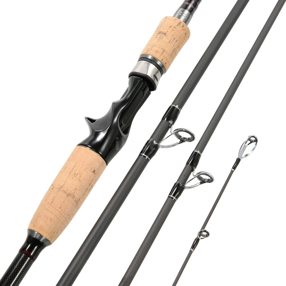 Carbon fiber 4 sections baitcasting fishing rod medium rod for Salt water fishing poles