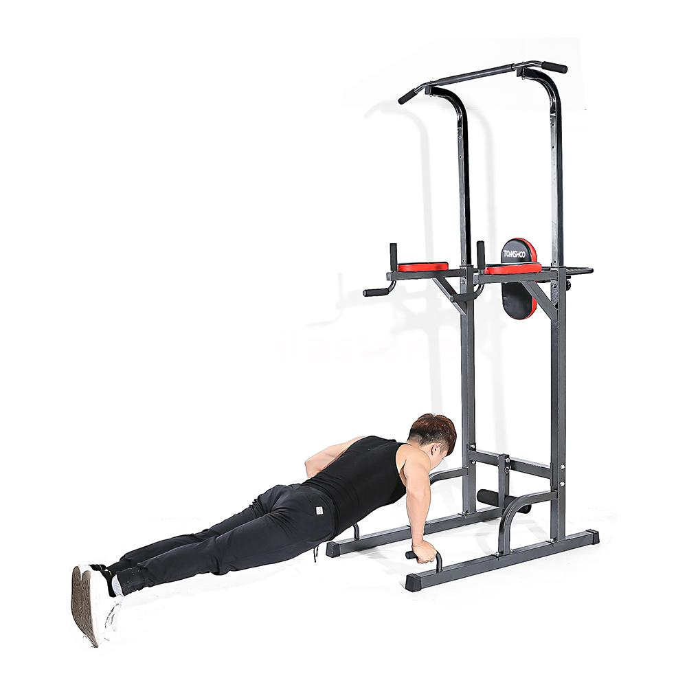 Folding home fitness power tower dip station pull press